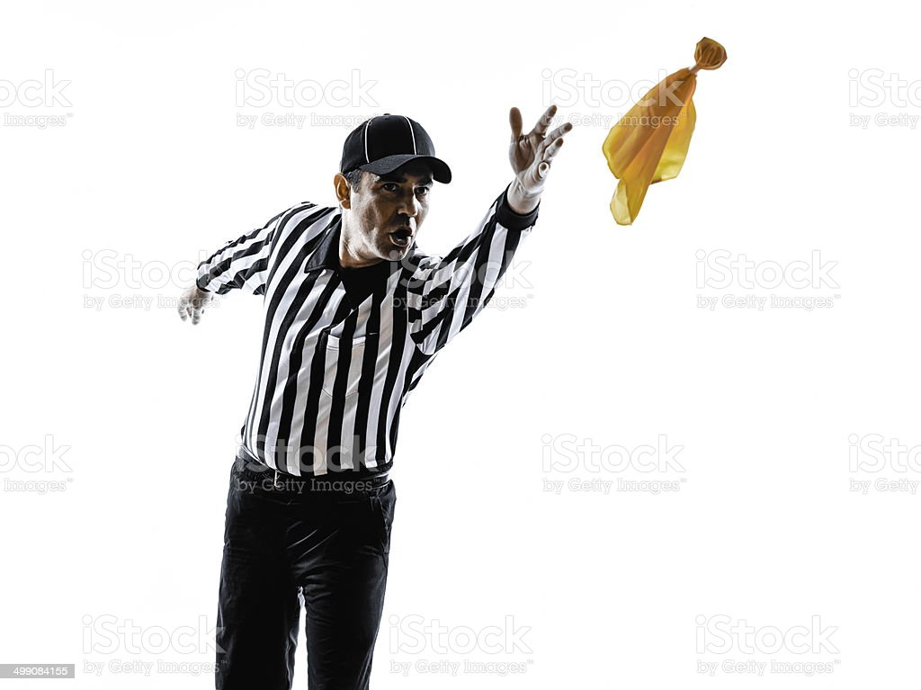 american football referee throwing yellow flag silhouette stock photo