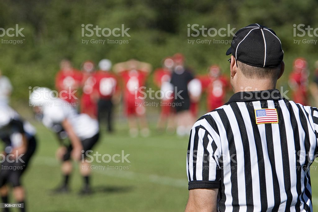 American football referee viewed from the rear at the game stock photo