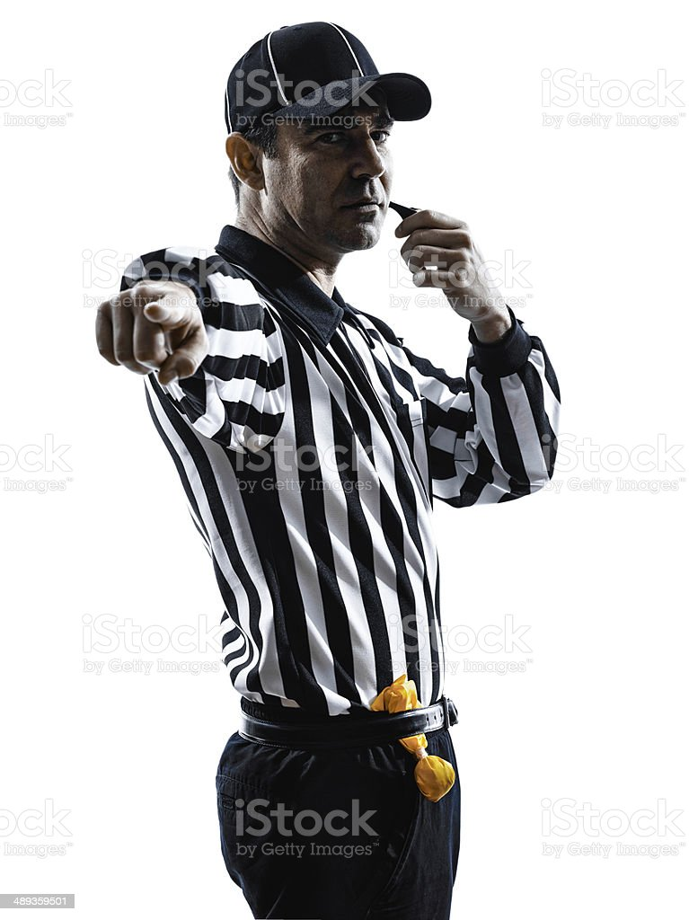 american football referee whistling silhouettes stock photo