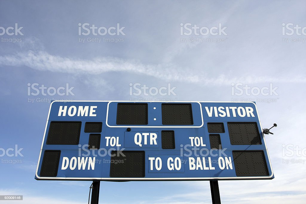 American Football Sports Scoreboard royalty-free stock photo