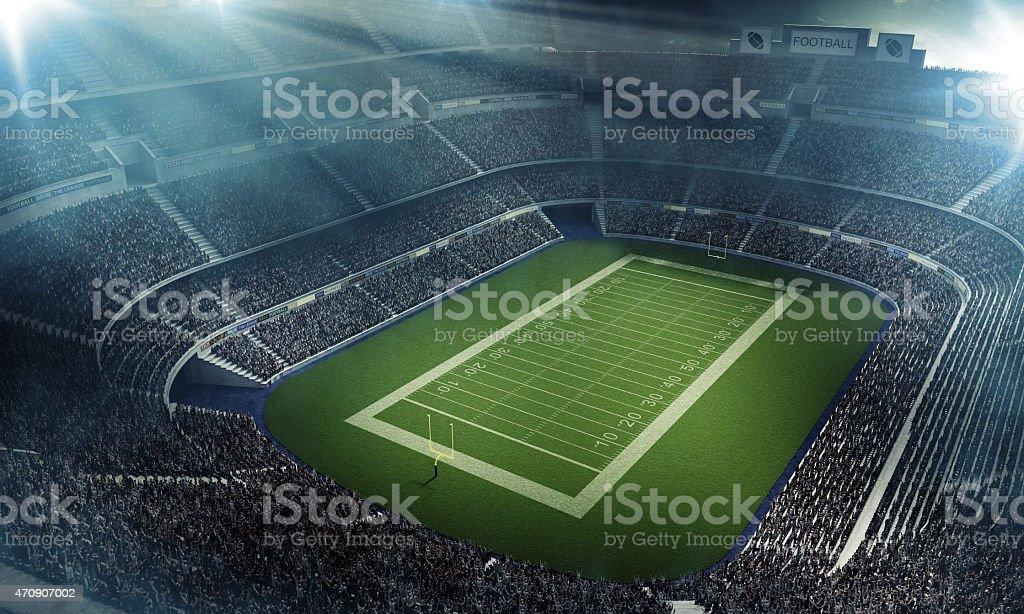 American football stadium full of fans from above stock photo