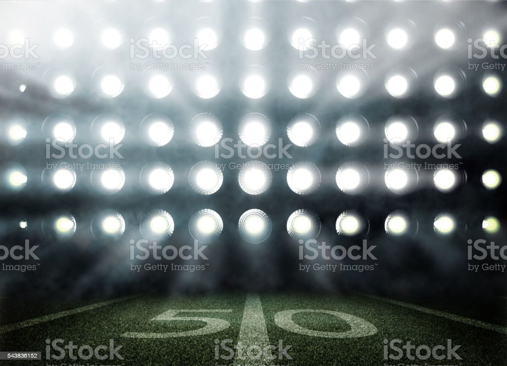 American football stadium in lights and flashes in 3d stock photo