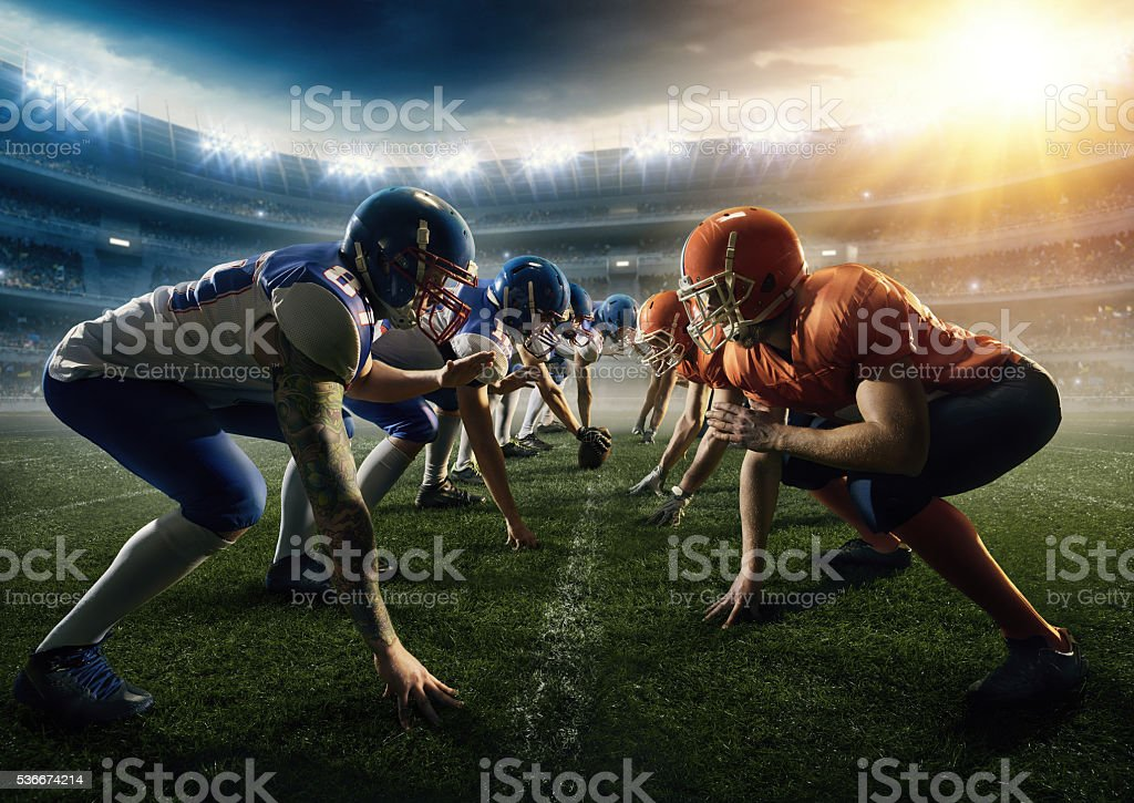 American football teams head to head stock photo