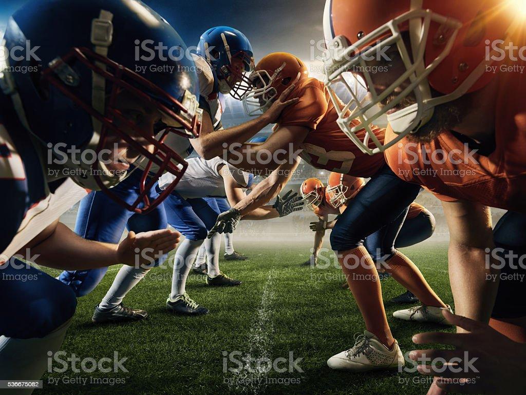 American football teams head to head stock photo