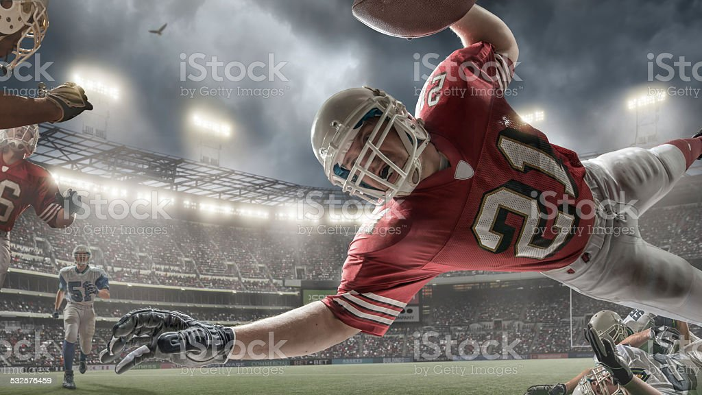 American Football Touchdown Action stock photo