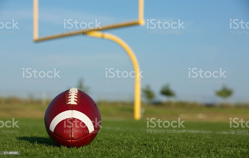 American Football with Goal Posts royalty-free stock photo