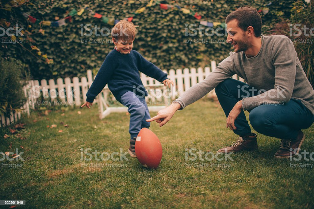 American football with my dad stock photo