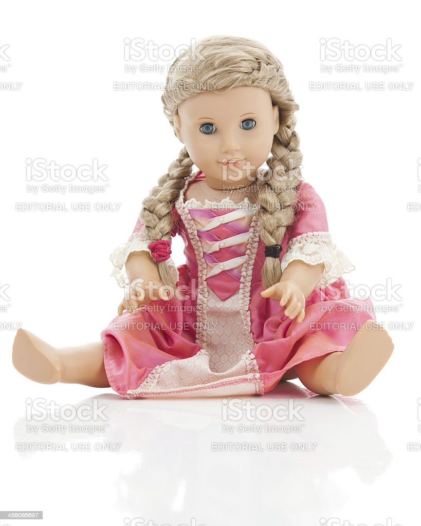 American Girl Doll on white with reflection stock photo
