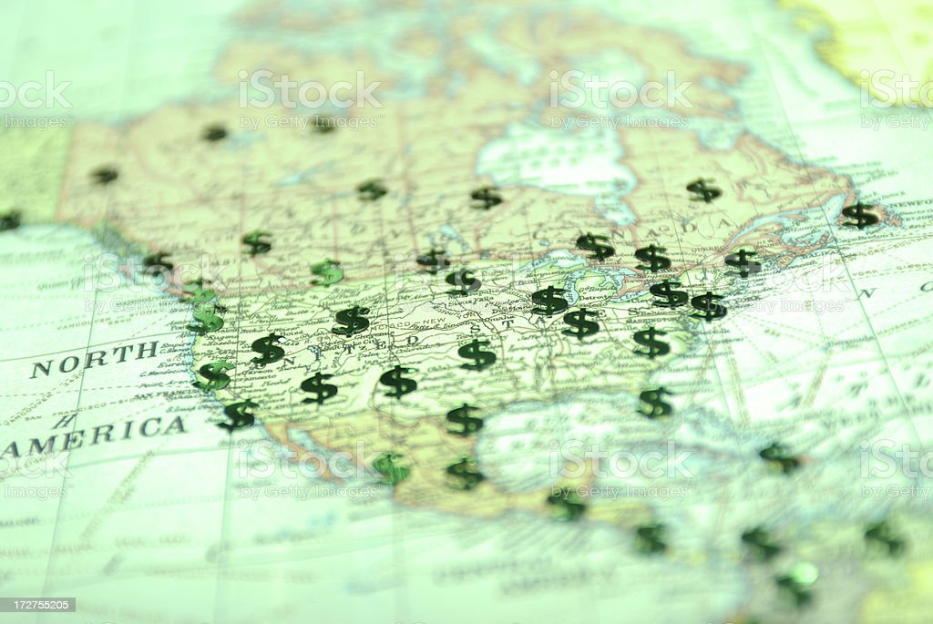 American Green Dollars on a Map of USA stock photo