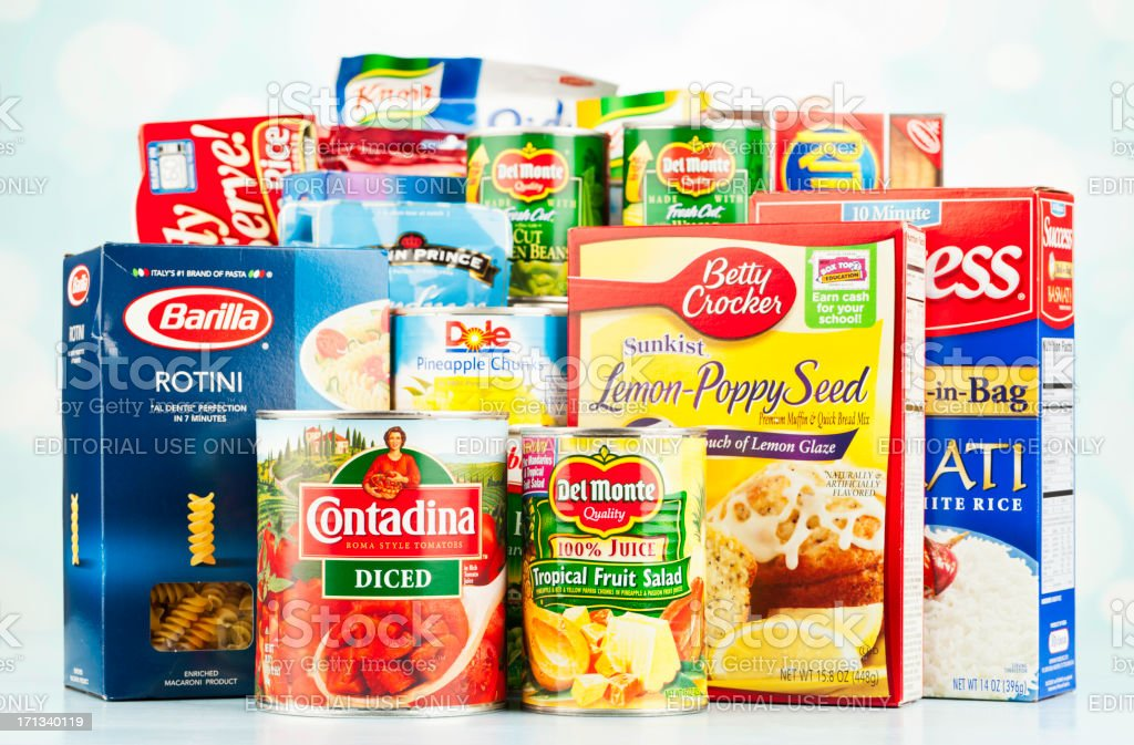 American Grocery Assortment For Food Drive royalty-free stock photo