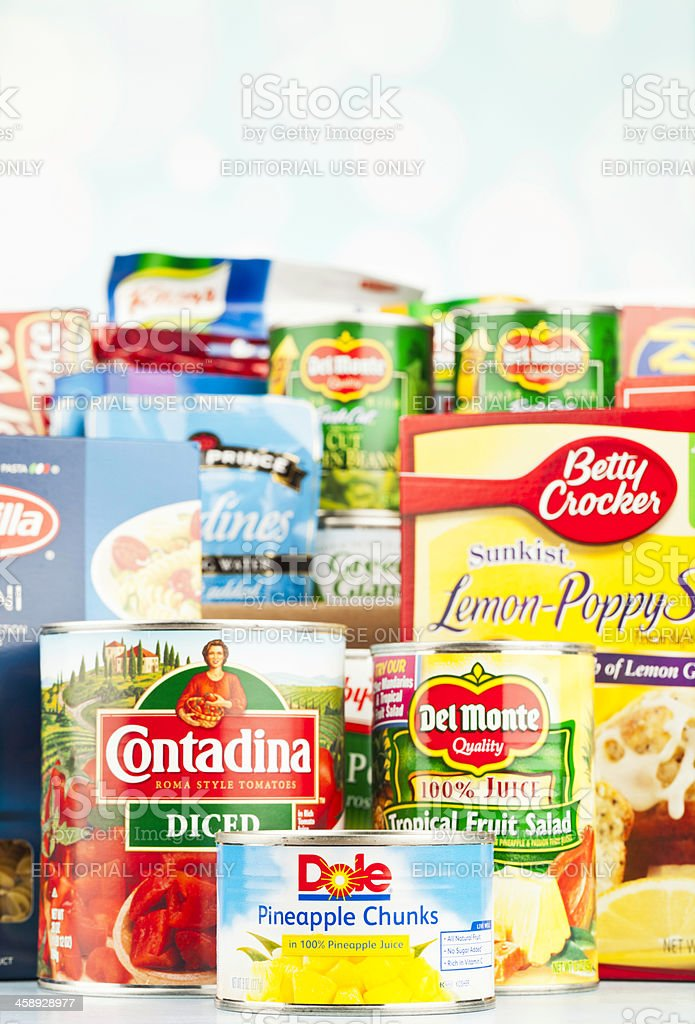 American Grocery Assortment For Food Drive stock photo