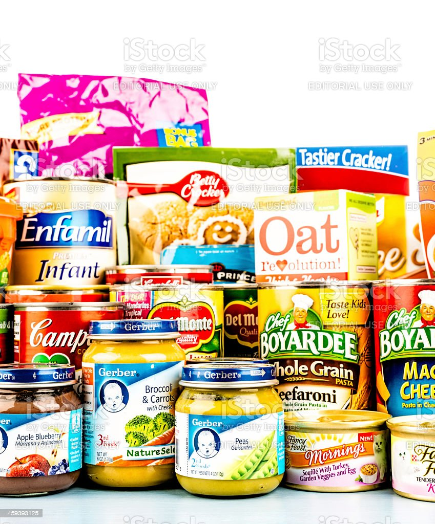 American Grocery Collection for Food Drive stock photo