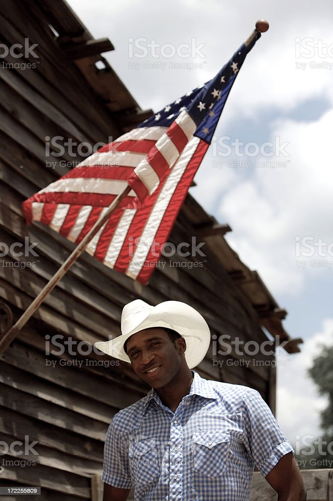 American guy and flag royalty-free stock photo