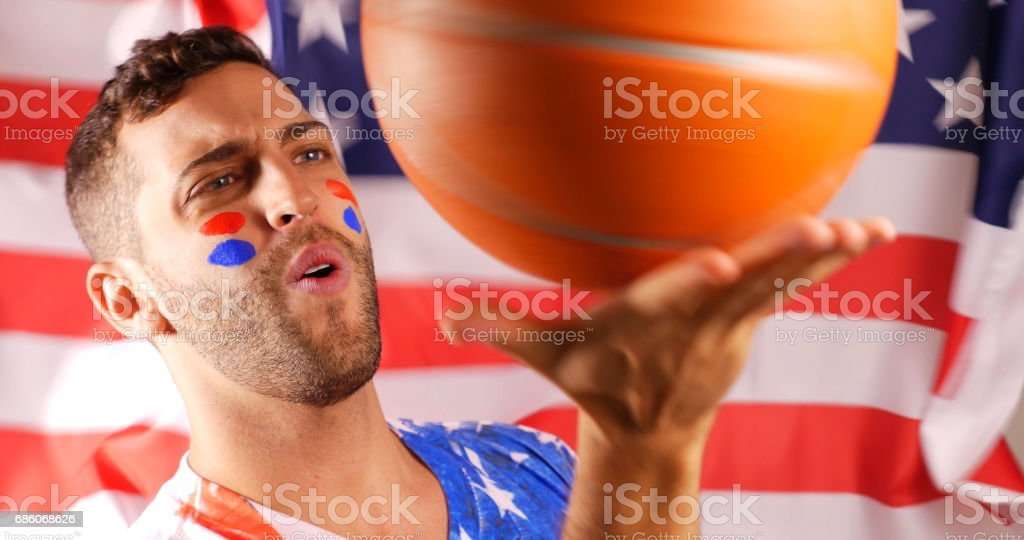 American Guy Celebrating with Flag stock photo