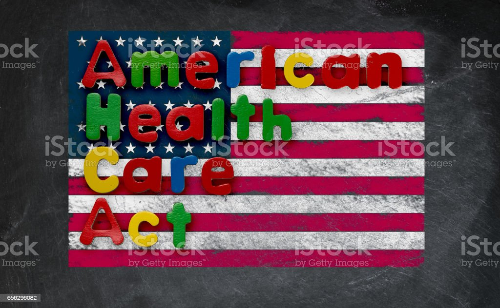 American Health Care Act illustration with US flag stock photo