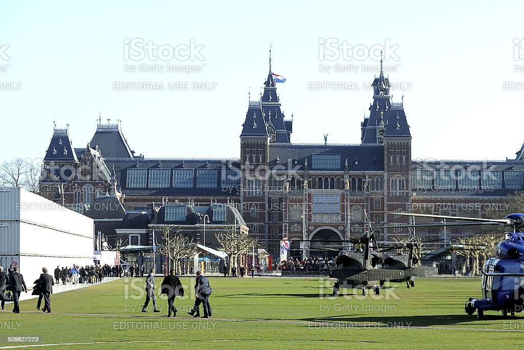 American helicopters on Amsterdam Museumplein stock photo