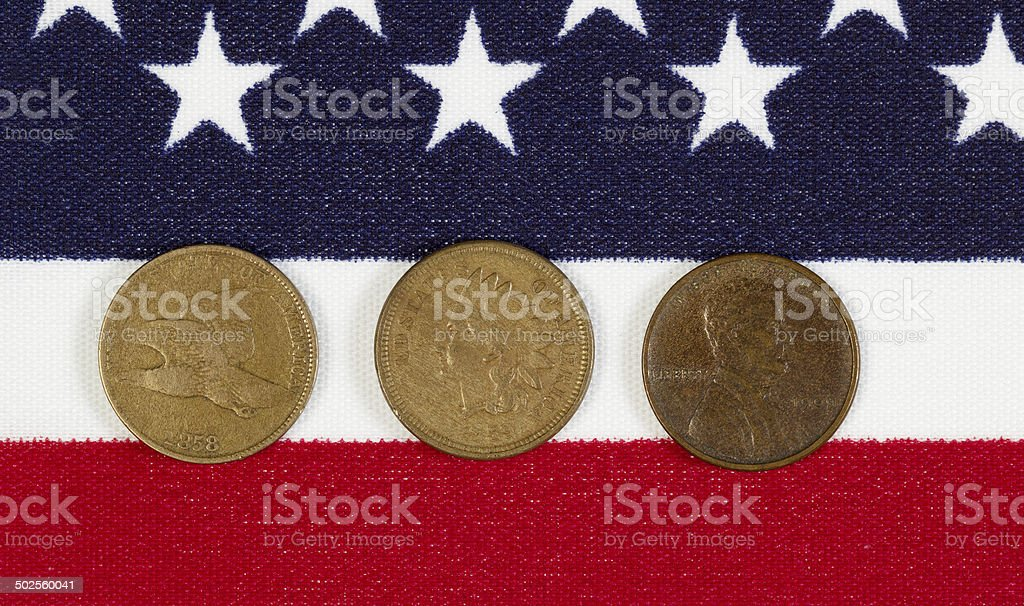 American History of the Once Cent Piece stock photo