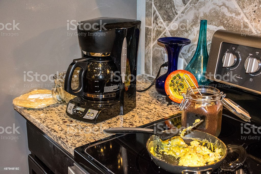 American Home Morning Breakfast Coffee and Eggs stock photo
