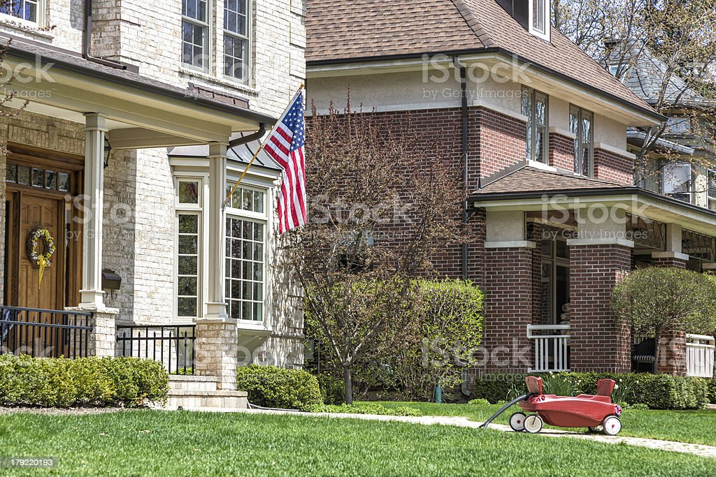 American home with us flag royalty-free stock photo