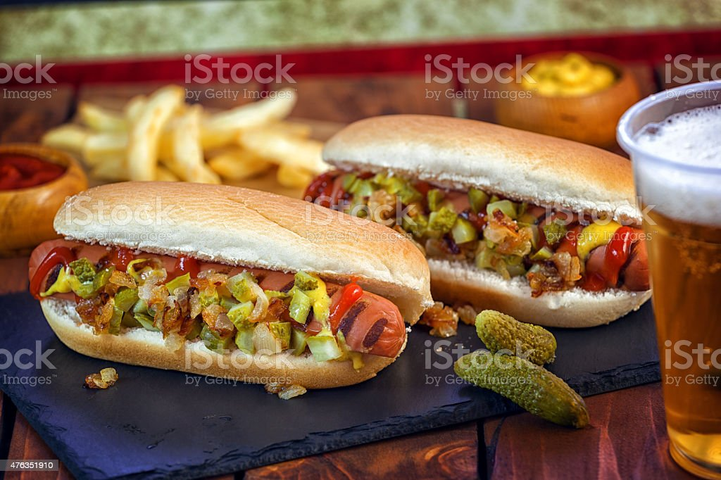 American Hotdog and a Glass of Beer stock photo