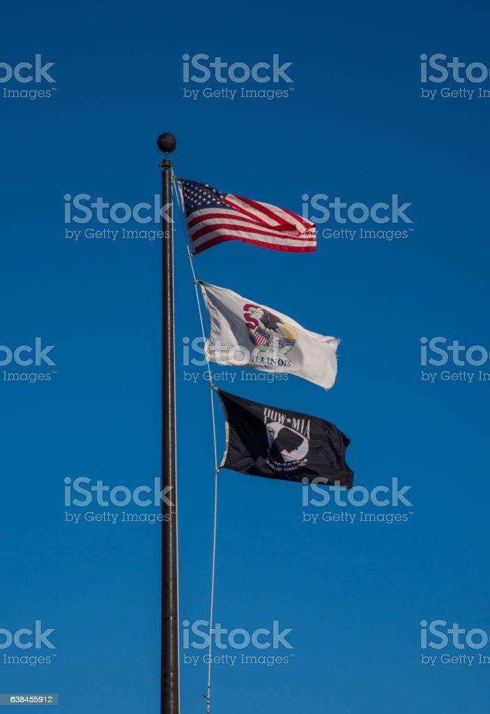 American, Illinois and POW Flags stock photo