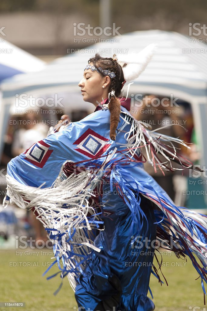American Indian at a Pow Wow stock photo