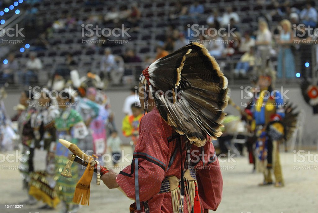 american indian chief from behind stock photo