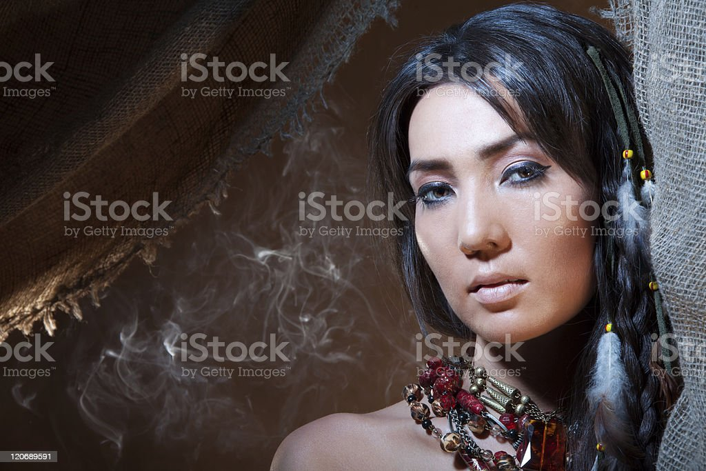 American Indian fortune teller stock photo