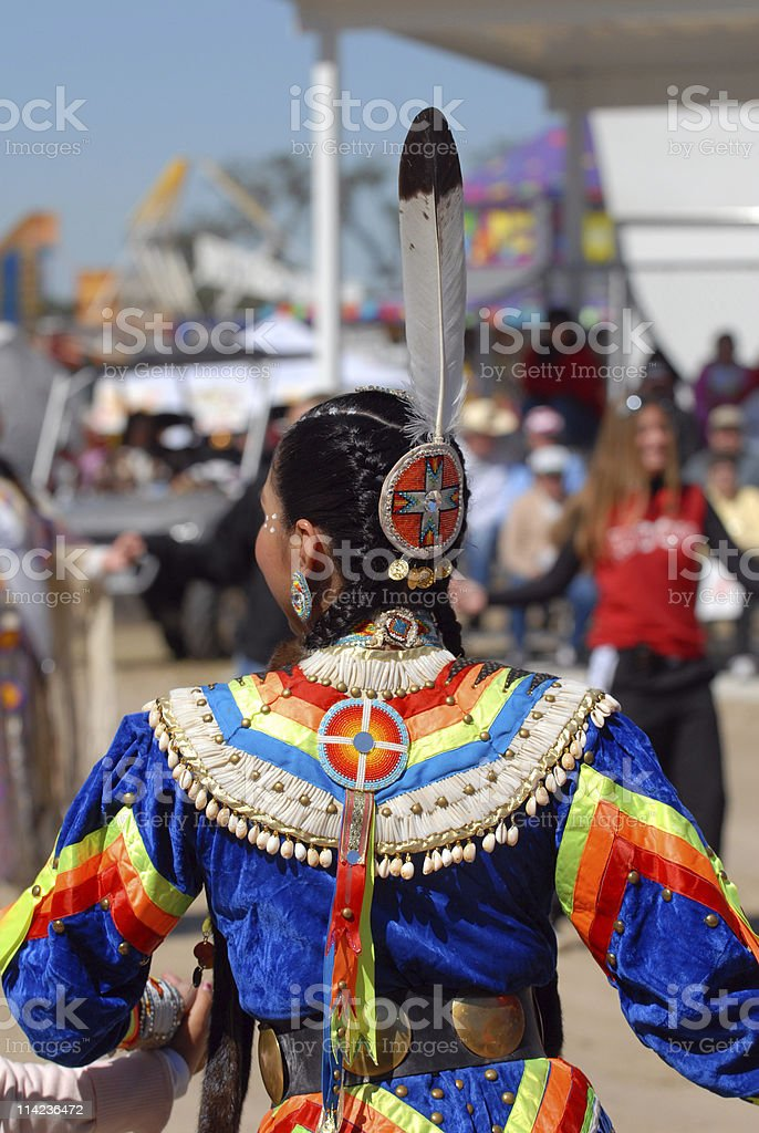 American indian girl from behind royalty-free stock photo