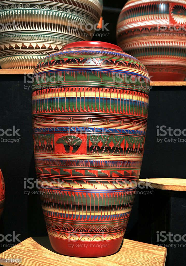 American Indian Mexican Pottery in Santa Fe royalty-free stock photo