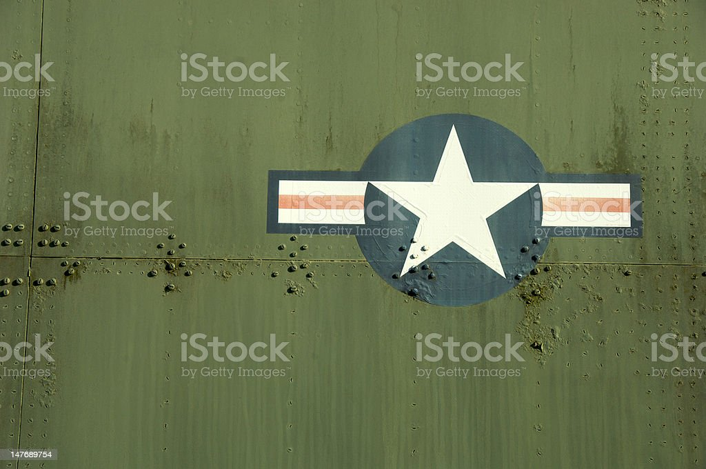 American Isignia on side of military aircraft stock photo