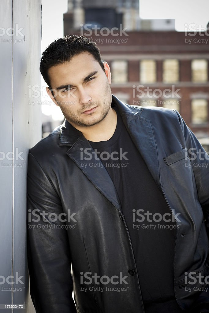 American Italian Young Man Portrait Outdoors, New York City Rooftop royalty-free stock photo