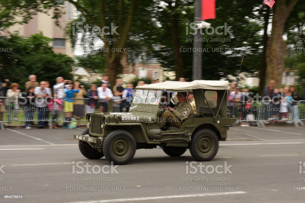 American jeep of the Second World War parading for  commemorating the French Revolution stock photo