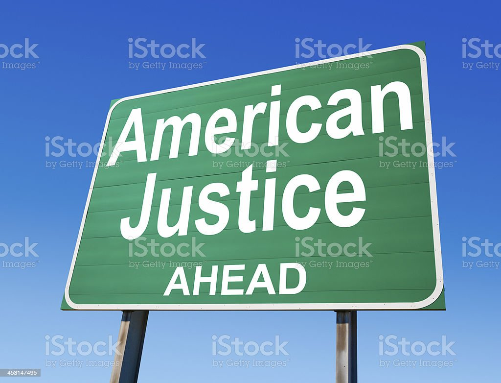 American Justice Ahead Highway Sign stock photo