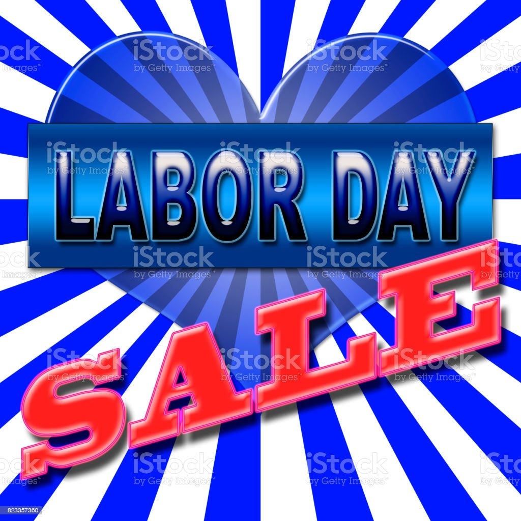American Labor Day Sales, in the colors red, white and blue, blue and white stripes. stock photo