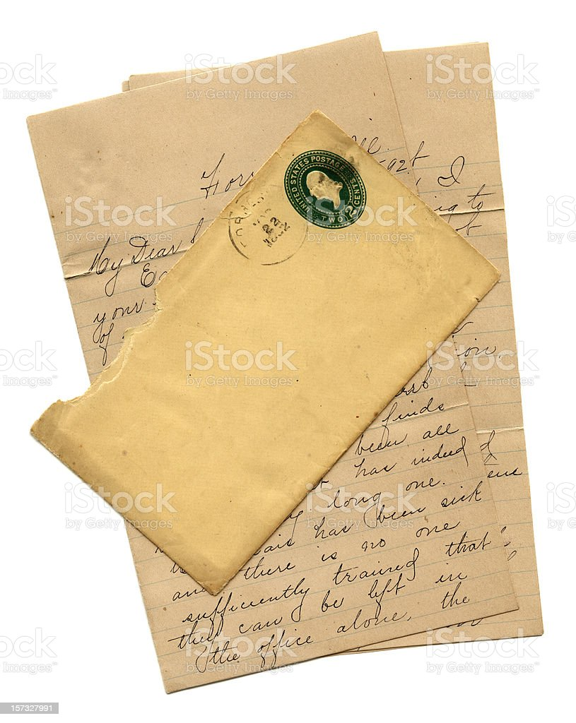 American letter and envelope 1892 royalty-free stock photo