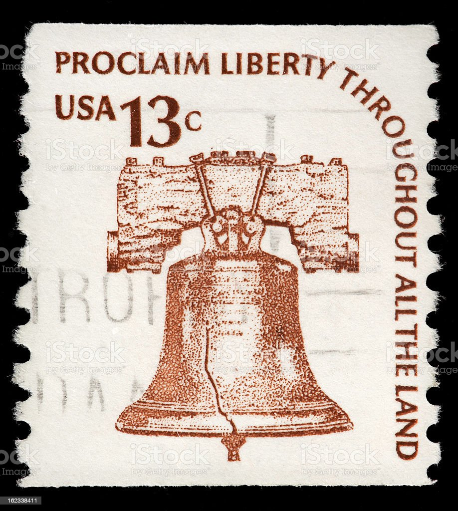 American Liberty Bell Depicted on Vintage US  Stamp stock photo