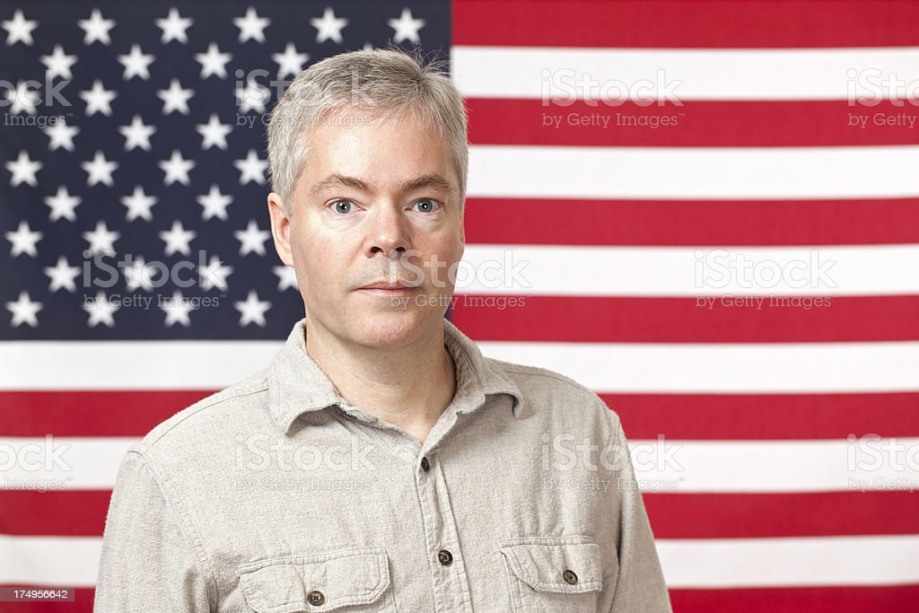 American Man and Flag royalty-free stock photo