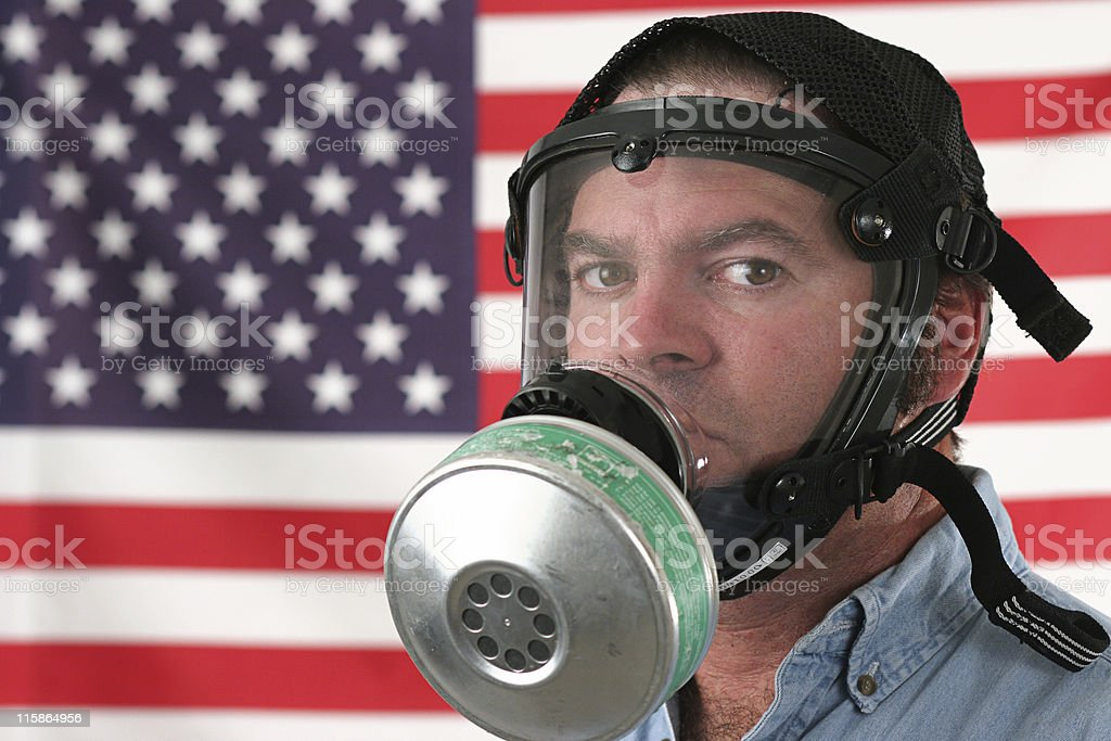 American Man in Gas Mask royalty-free stock photo