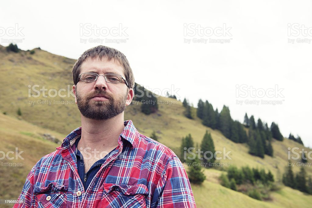 American Man in the Swiss Alps stock photo