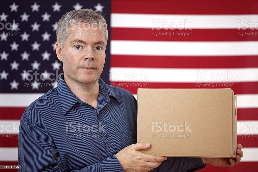 American Man with a Blank Box royalty-free stock photo