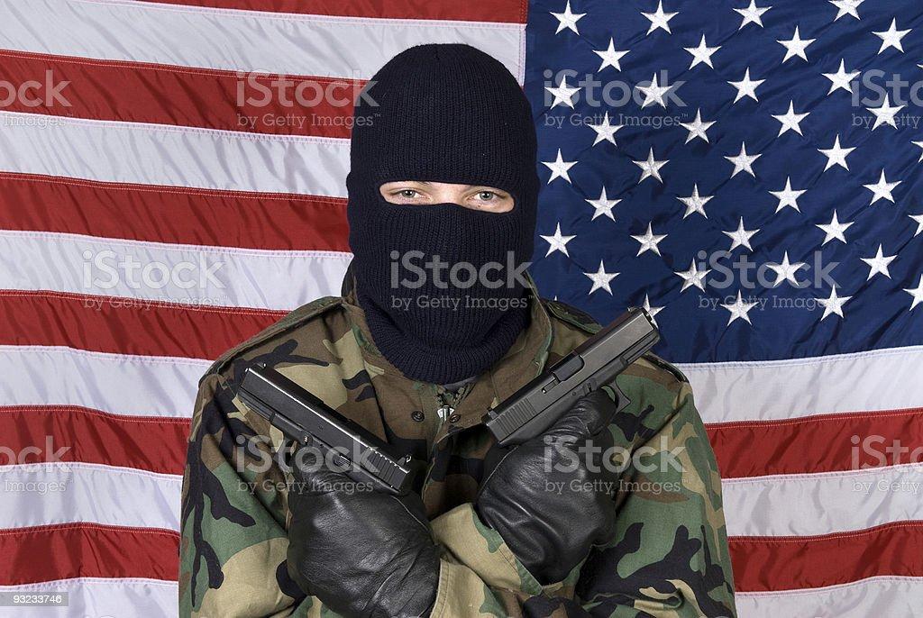 American man with guns stock photo