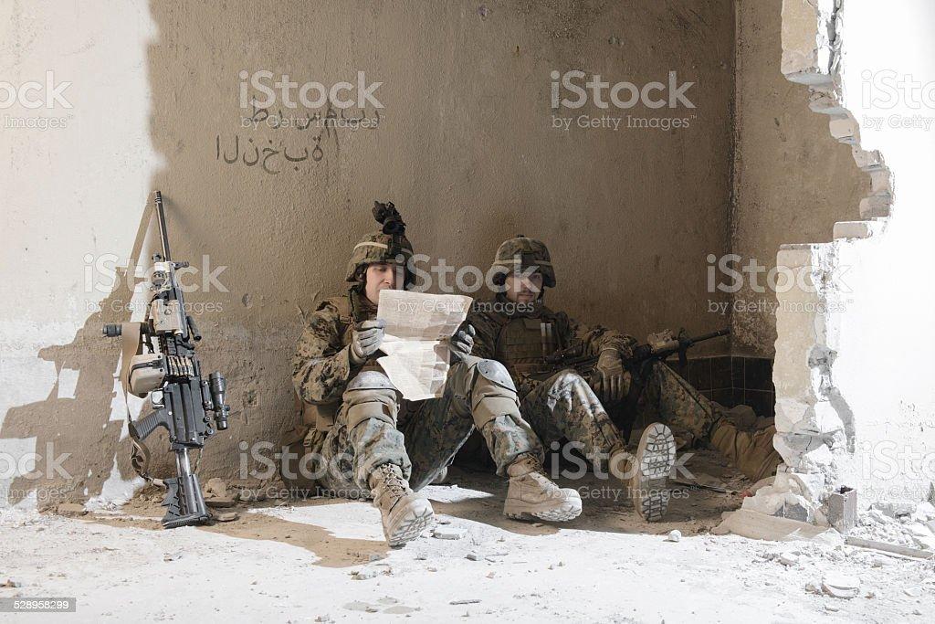 American Marines taking rest. stock photo