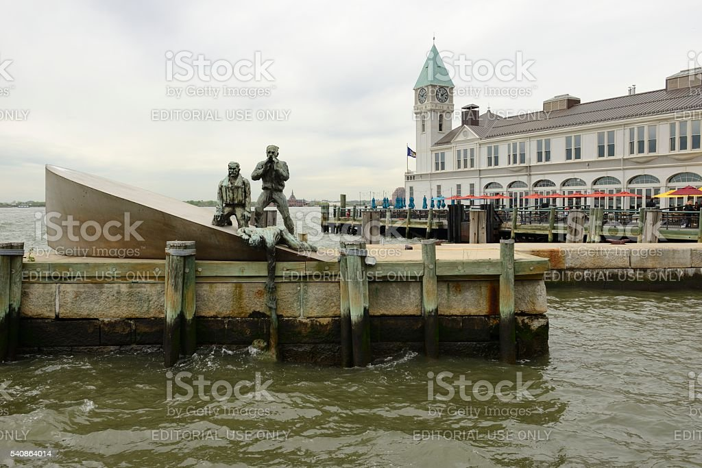 American Merchant Mariners' Memorial Sculpture and City Pier A stock photo