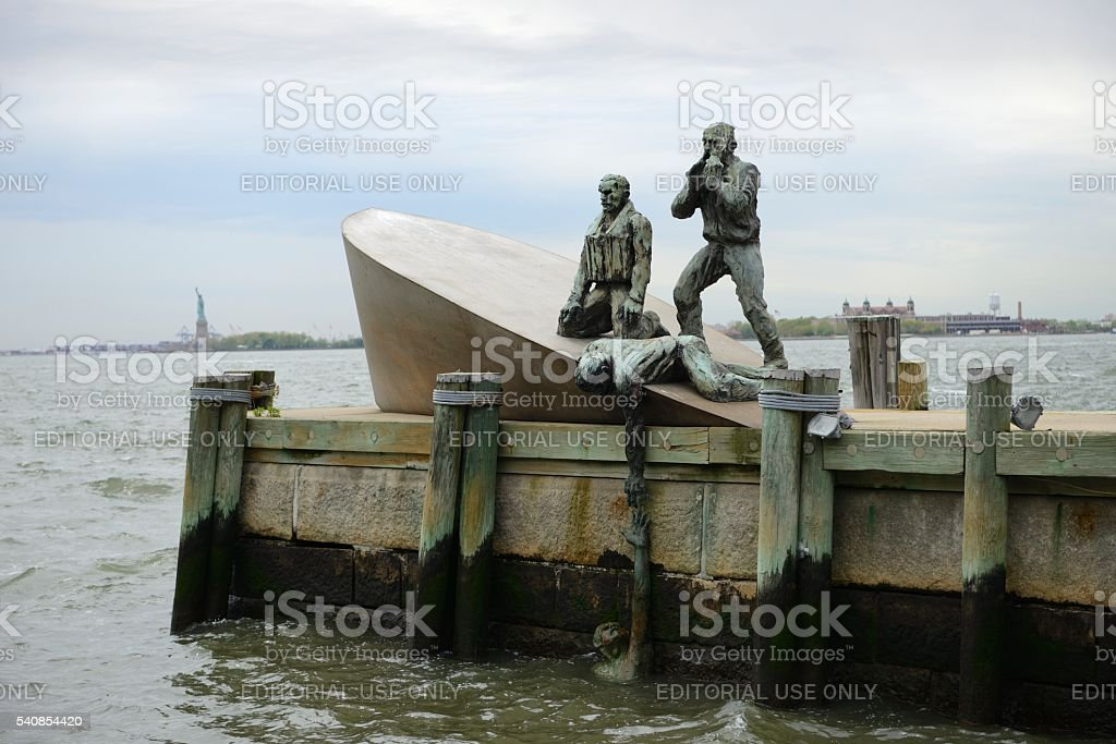 American Merchant Mariners' Memorial Sculpture west of Battery Park stock photo
