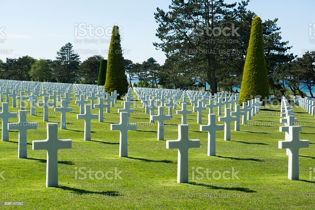 American military cemetery at Colleville-sur-Mer, Normandy, France stock photo