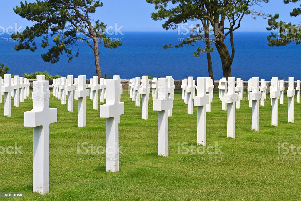 American military cemetery near Omaha Beach, Normandy royalty-free stock photo