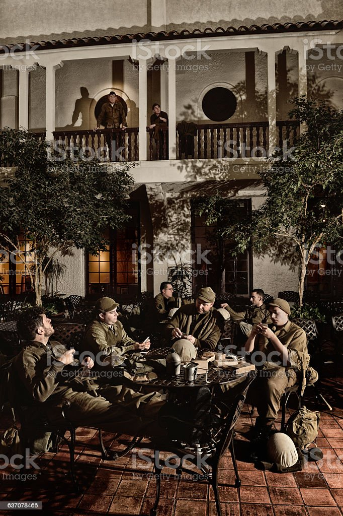WWII American Military Enjoying A Little R&R In Italy stock photo