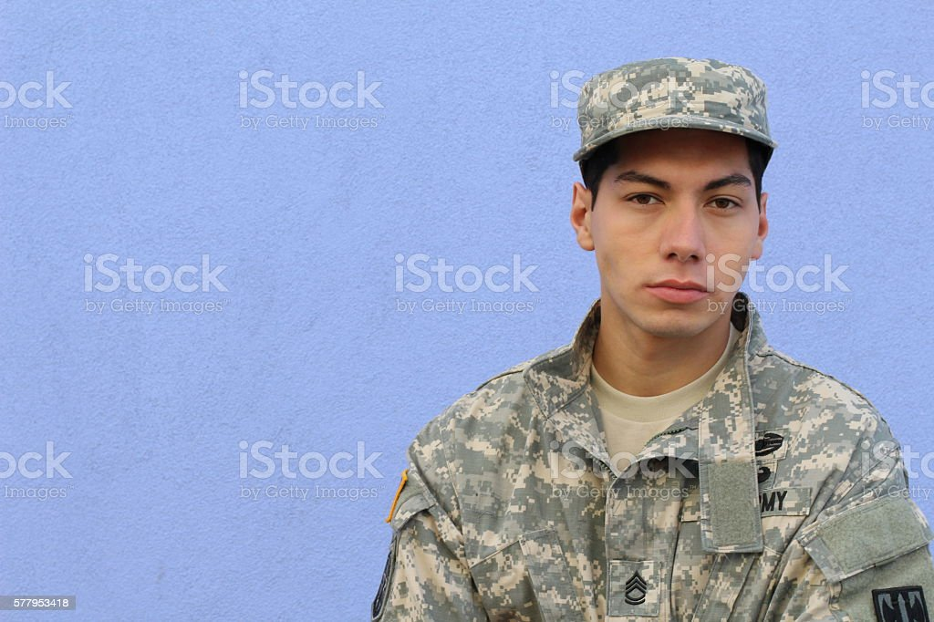 American military serviceman with copy space stock photo
