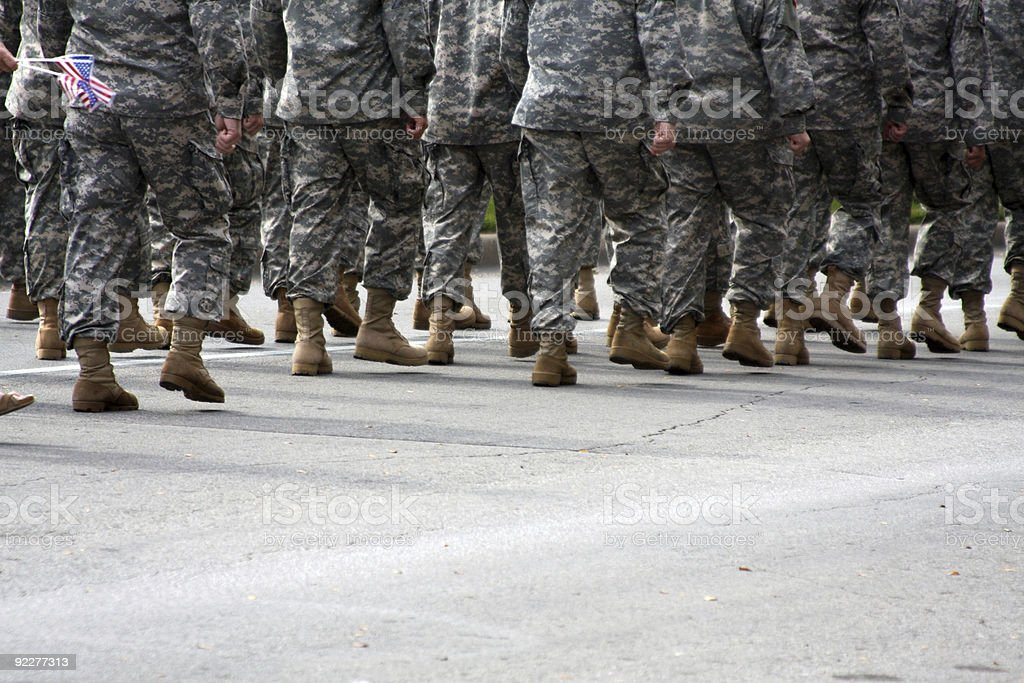 American Military Troops Marching along the Street stock photo